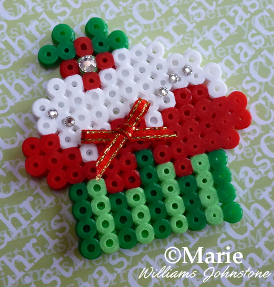 Completed Holiday Christmas Cupcake Perler Hama Fused Bead Design Pattern Tutorial Instructions