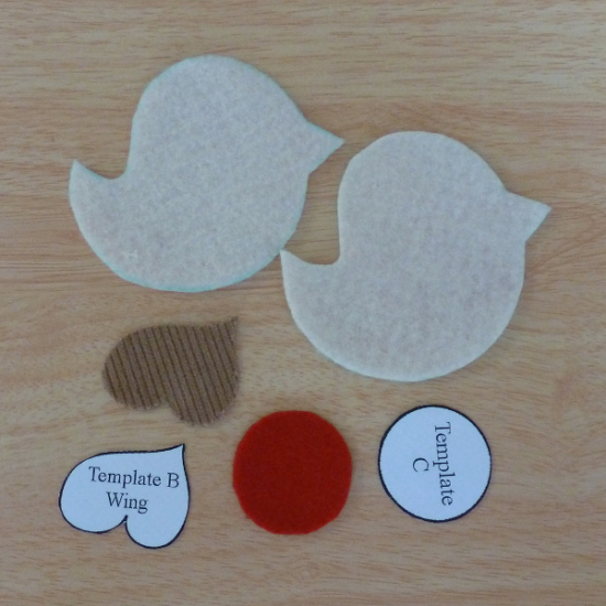 Christmas robin template printable pattern pieces cut out from felt and fabric