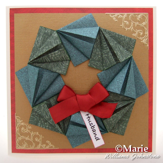 Finished Festive Paper Folded Wreath Christmas Card Design Handmade Holiday Craft Papercraft