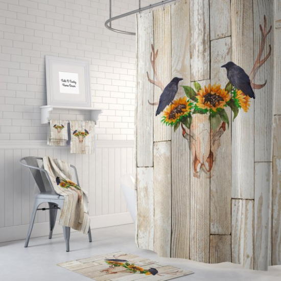 Rustic Sunflower Shower Curtain Antlers Crow Wood Design with Optional Bath, Towels and Mat Bathroom Set