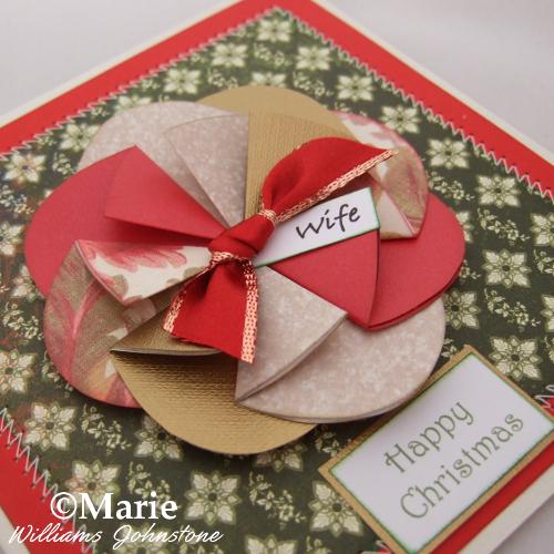 Chsistmas Xmas rosette fun paper folded card Holiday seasonal cards idea DIY homemade craft
