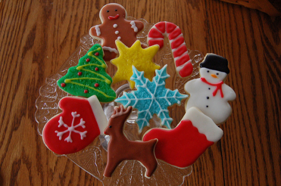 Smooth Icing Christmas Cookies: Snowman, Tree, Candy Cane, Gingerbread Man, Stocking, Mitt, Snowflake and More