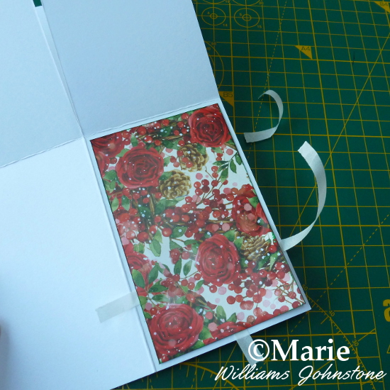 Adding Patterned Christmas Holiday Papers to the Bottom of the Blank Pop Up Box Card