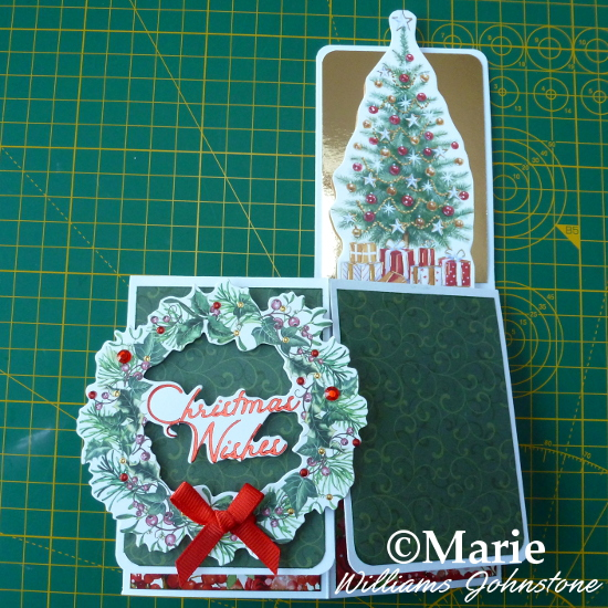 Decorating the Outside of the Pop-Up Box Christmas Card Holiday wreath design