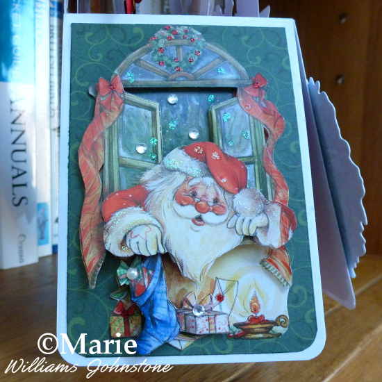 Santa Claus Father Christmas pop up box card festive panel 3D decoupage papier tole paper craft technique