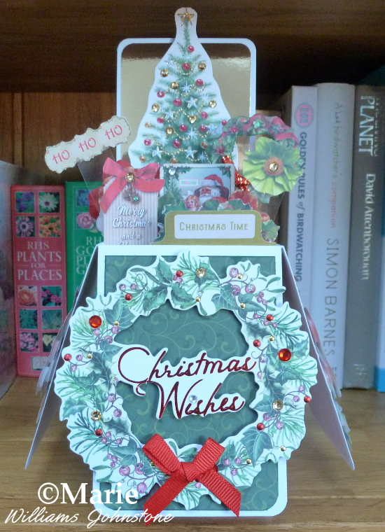 Christmas tree wreath pop-up box card handmade instructions tutorial craft