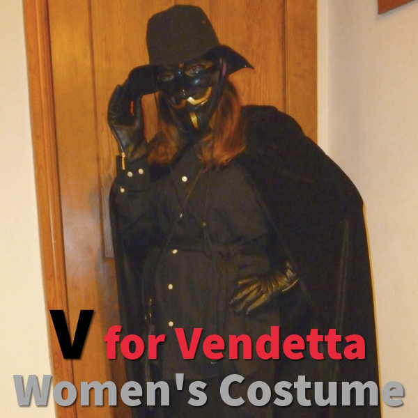 V for Vendetta Costume Womens Modern Guy Fawkes Outfit Female Fancy Dress Halloween Black Costumes