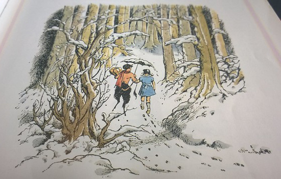 Lucy Pevensie meets Mr Tumnus Through the Wardrobe Chronicles of Narnia Illustration