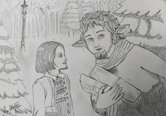 Sketch pencil drawing of Lucy Pevensie and Mr Tumnus the Narnia Faun from The Lion, The Witch and The Wardrobe