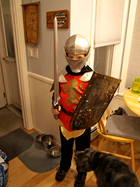 Child dressed up as Peter Pevensie Knight of Narnia Chronicles costume Halloween fancy dress boy kids